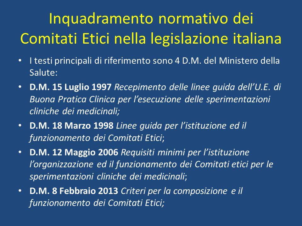 Inquadramento normativo dei Comitati Etici nella legislazione italiana I testi principali di riferimento sono 4 D.M. del Ministero della Salute: D.M.