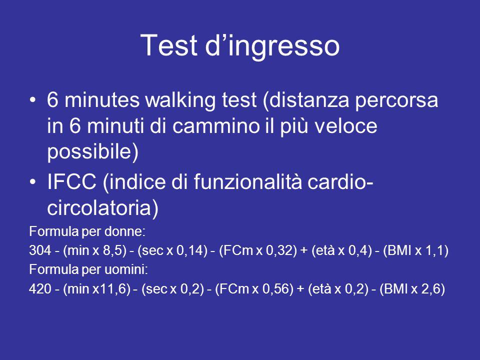 Test d'ingresso 6 minutes walking test (distanza percorsa in 6 minuti di cammino il più veloce possibile) IFCC (indice di funzionalità cardio- circolatoria) Formula per donne: 304 - (min x 8,5) - (sec x 0,14) - (FCm x 0,32) + (età x 0,4) - (BMI x 1,1) Formula per uomini: 420 - (min x11,6) - (sec x 0,2) - (FCm x 0,56) + (età x 0,2) - (BMI x 2,6)