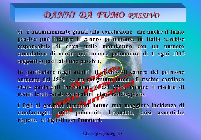 DANNI DA FUMO PASSIVO Si è unanimemente giunti alla conclusione che anche il fumo passivo può indurre il cancro polmonare, in Italia sarebbe responsab