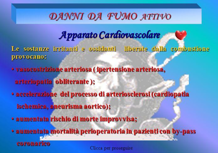 DANNI DA FUMO ATTIVO Apparato Cardiovascolare Le sostanze irritanti e ossidanti liberate dalla combustione provocano: vasocostrizione arteriosa ( iper