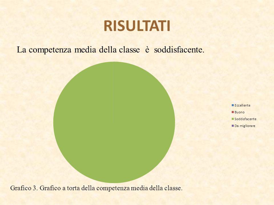 RISULTATI La competenza media della classe è soddisfacente. Grafico 3. Grafico a torta della competenza media della classe.