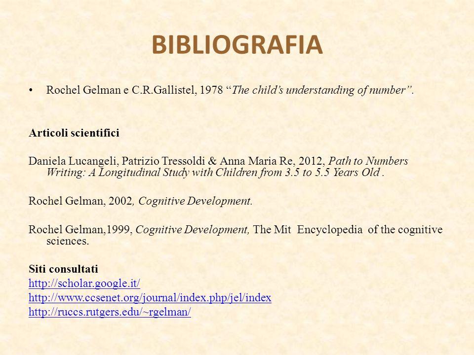 """BIBLIOGRAFIA Rochel Gelman e C.R.Gallistel, 1978 """"The child's understanding of number"""". Articoli scientifici Daniela Lucangeli, Patrizio Tressoldi & A"""