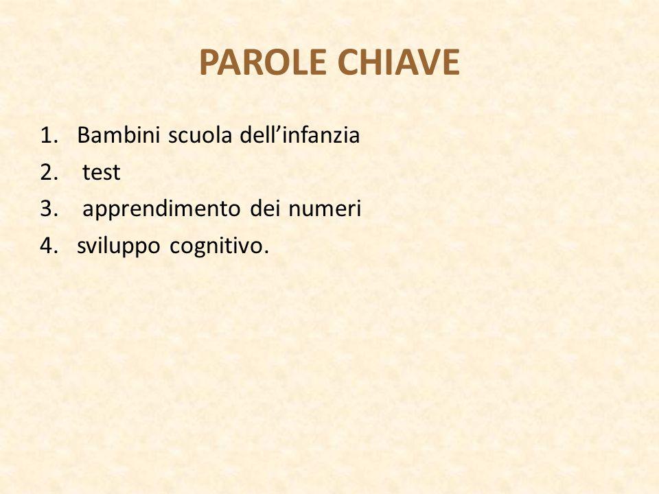 PAROLE CHIAVE 1.Bambini scuola dell'infanzia 2. test 3. apprendimento dei numeri 4.sviluppo cognitivo.