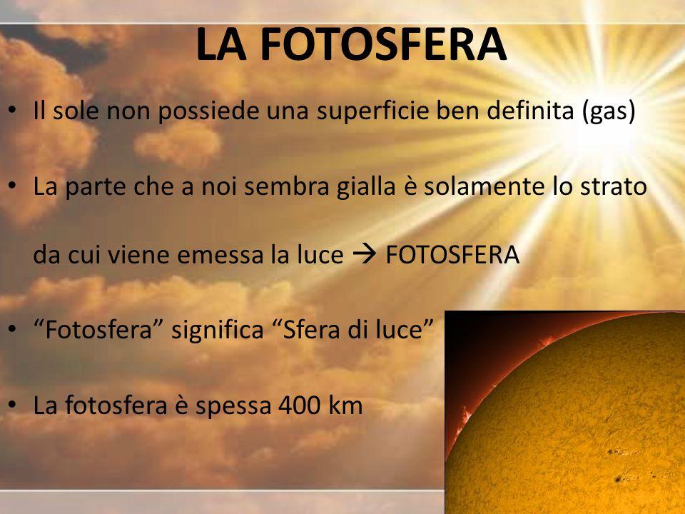 LA FOTOSFERA Il sole non possiede una superficie ben definita (gas) La parte che a noi sembra gialla è solamente lo strato da cui viene emessa la luce  FOTOSFERA Fotosfera significa Sfera di luce La fotosfera è spessa 400 km