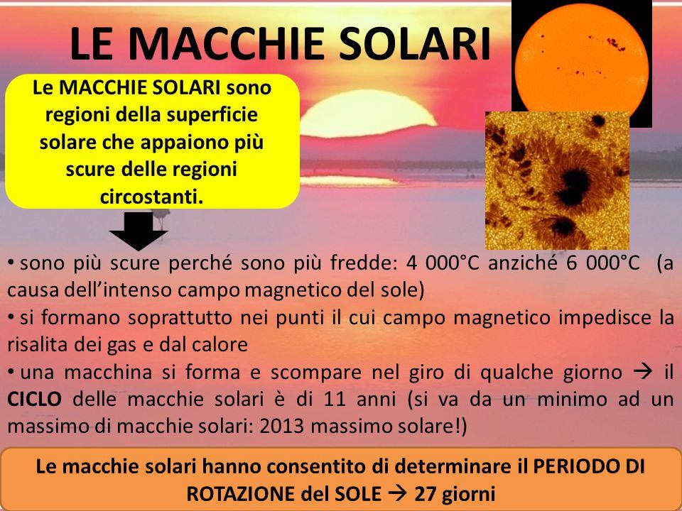 LE MACCHIE SOLARI Le MACCHIE SOLARI sono regioni della superficie solare che appaiono più scure delle regioni circostanti.