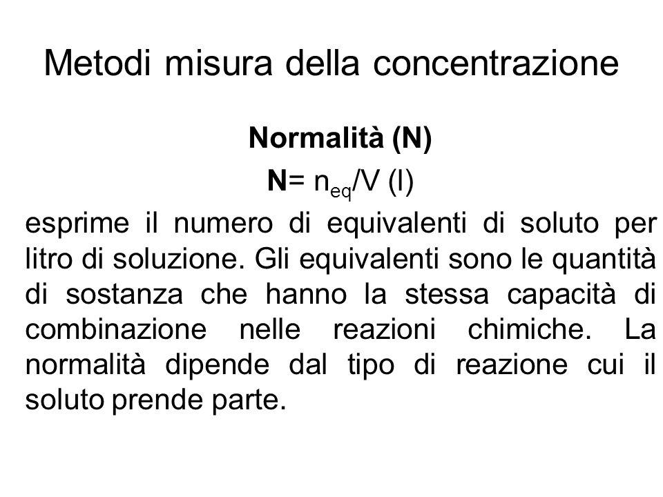 Normalità (N) N= n eq /V (l) esprime il numero di equivalenti di soluto per litro di soluzione. Gli equivalenti sono le quantità di sostanza che hanno