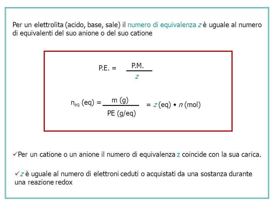 P.M. z P.E. = Per un elettrolita (acido, base, sale) il numero di equivalenza z è uguale al numero di equivalenti del suo anione o del suo catione Per