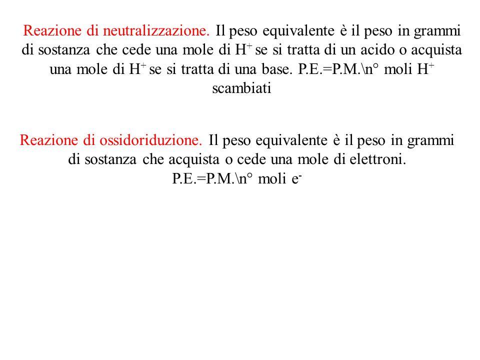 Reazione di neutralizzazione. Il peso equivalente è il peso in grammi di sostanza che cede una mole di H + se si tratta di un acido o acquista una mol