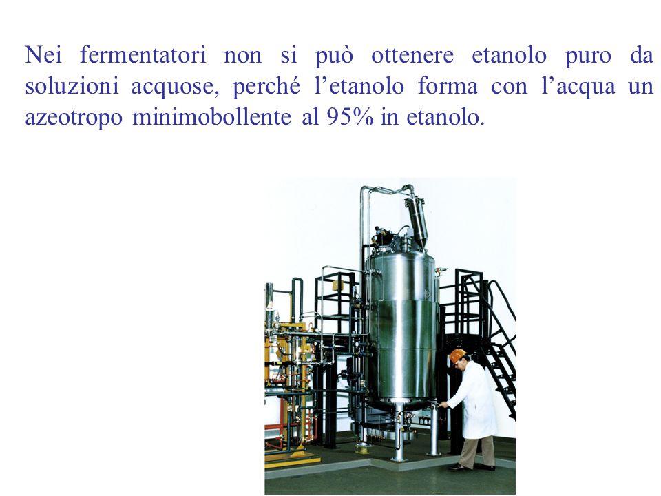 Nei fermentatori non si può ottenere etanolo puro da soluzioni acquose, perché l'etanolo forma con l'acqua un azeotropo minimobollente al 95% in etano