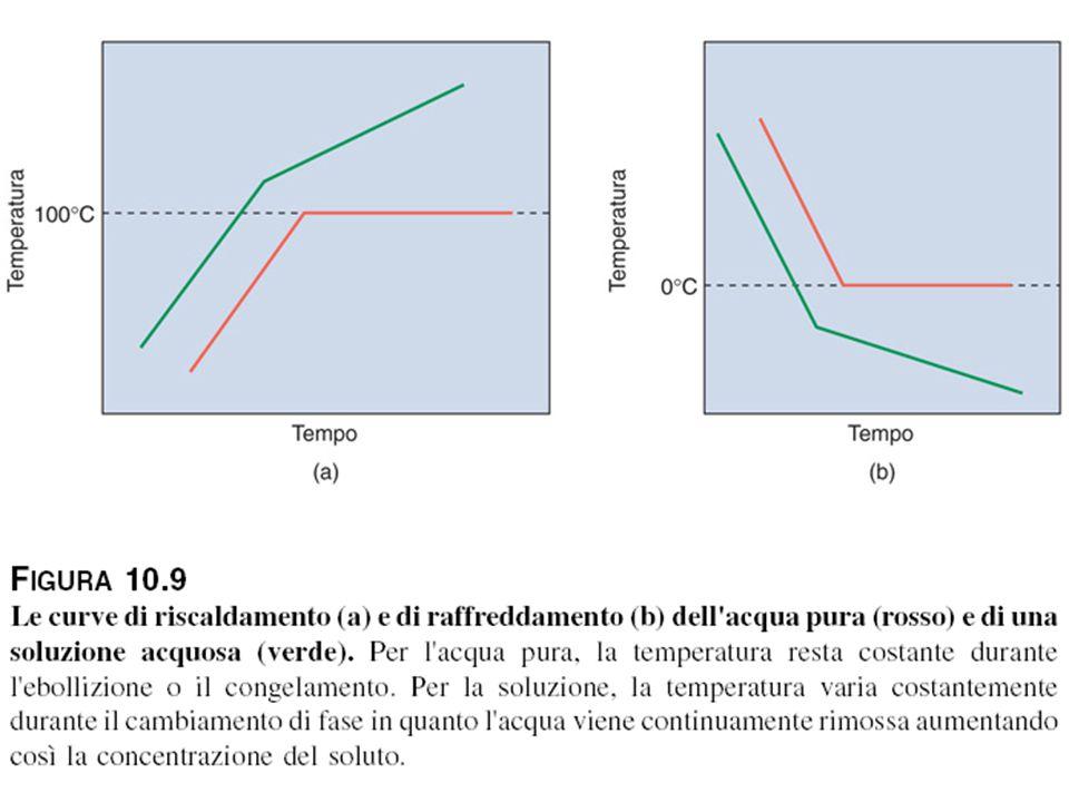 Le curve di riscaldamento e di raffreddamento dell'acqua pura e di una soluzione acquosa (verde)