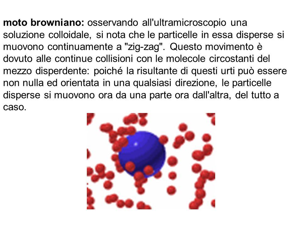 moto browniano: osservando all'ultramicroscopio una soluzione colloidale, si nota che le particelle in essa disperse si muovono continuamente a