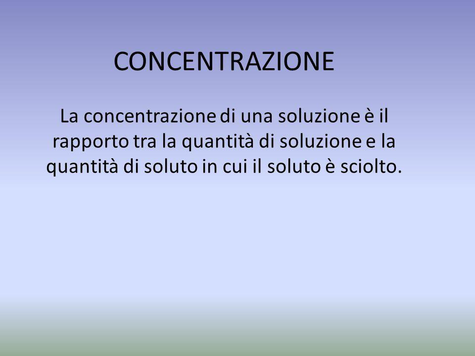 CONCENTRAZIONE La concentrazione di una soluzione è il rapporto tra la quantità di soluzione e la quantità di soluto in cui il soluto è sciolto.