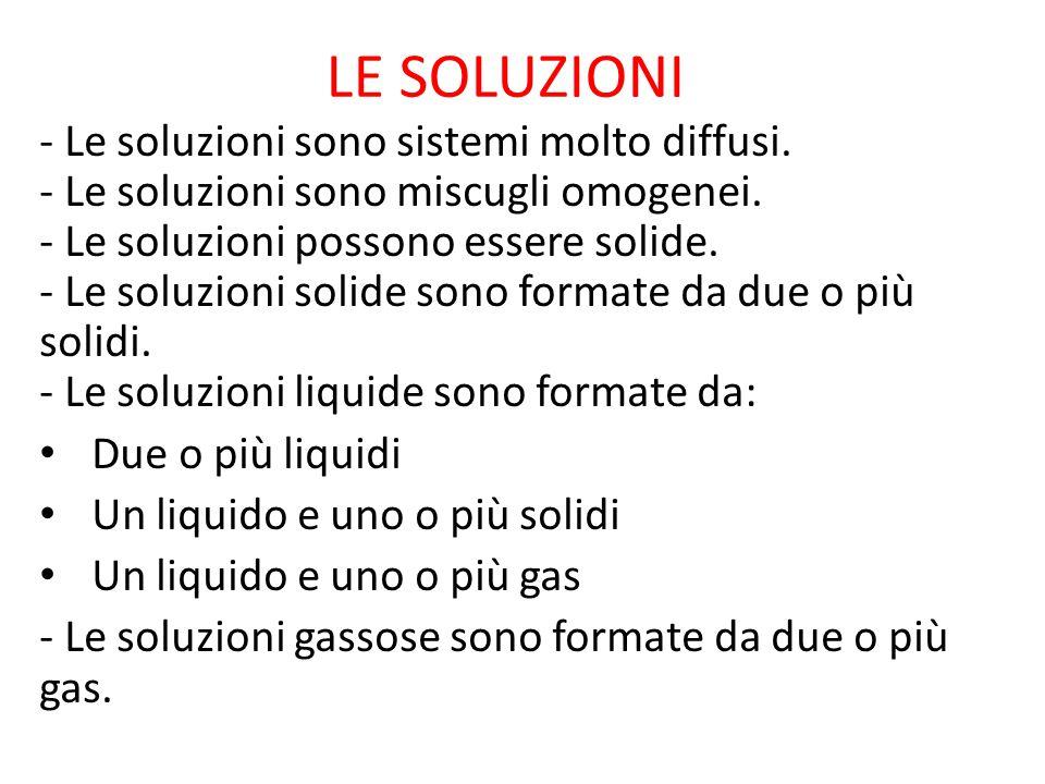 SOLVENTE E SOLUTO - Il solvente è la sostanza che scioglie - I soluti sono le sostanze che si sciolgono - Il soluto rimane indisciolto quando la soluzione ha raggiunto la massima quantità possibile ad una certa temperatura (Il soluto indisciolto si chiama corpo di fondo) Soluzioni liquide formate da più liquidi (Il solvente è il più presente; i soluti sono gli altri liquidi) Soluzioni liquide formate da un liquido o più solidi ( Il solvente è la sostanza liquida) Soluzioni liquide formate da un liquido e uno o più gas ( I soluti sono le sostanze solide o le sostanze gassose)