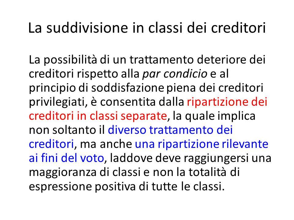 La suddivisione in classi dei creditori La possibilità di un trattamento deteriore dei creditori rispetto alla par condicio e al principio di soddisfa