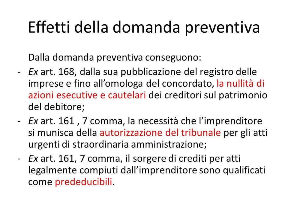 Effetti della domanda preventiva Dalla domanda preventiva conseguono: -Ex art. 168, dalla sua pubblicazione del registro delle imprese e fino all'omol