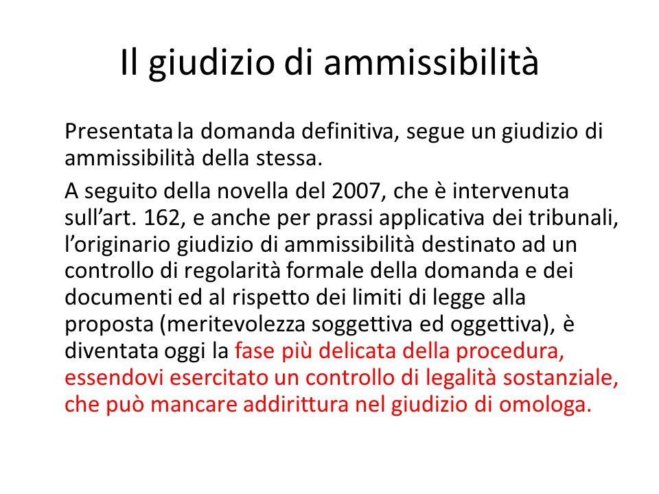 Il giudizio di ammissibilità Presentata la domanda definitiva, segue un giudizio di ammissibilità della stessa. A seguito della novella del 2007, che