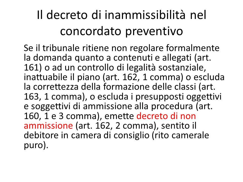 Il decreto di inammissibilità nel concordato preventivo Se il tribunale ritiene non regolare formalmente la domanda quanto a contenuti e allegati (art