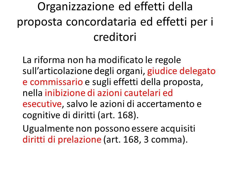 Organizzazione ed effetti della proposta concordataria ed effetti per i creditori La riforma non ha modificato le regole sull'articolazione degli orga