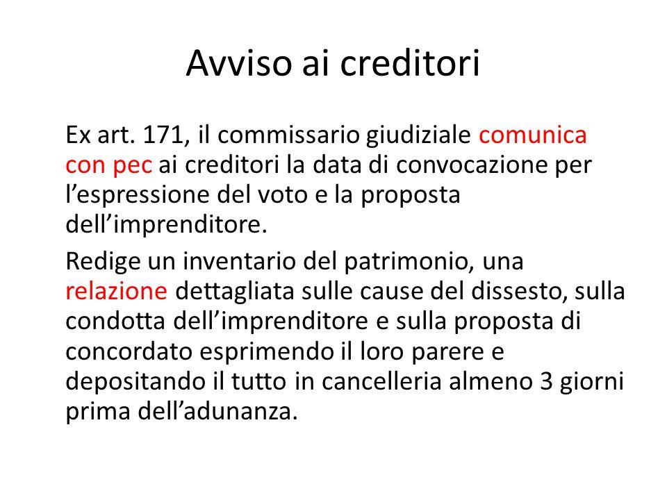 Avviso ai creditori Ex art. 171, il commissario giudiziale comunica con pec ai creditori la data di convocazione per l'espressione del voto e la propo