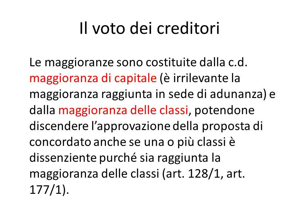 Il voto dei creditori Le maggioranze sono costituite dalla c.d. maggioranza di capitale (è irrilevante la maggioranza raggiunta in sede di adunanza) e