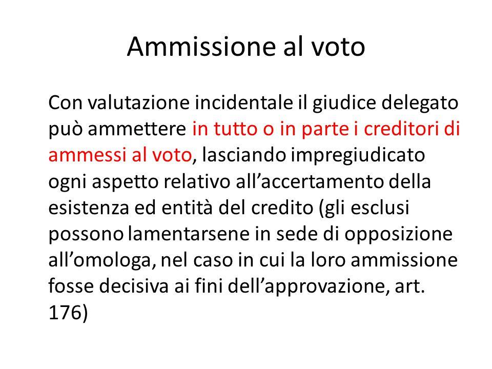 Ammissione al voto Con valutazione incidentale il giudice delegato può ammettere in tutto o in parte i creditori di ammessi al voto, lasciando impregi