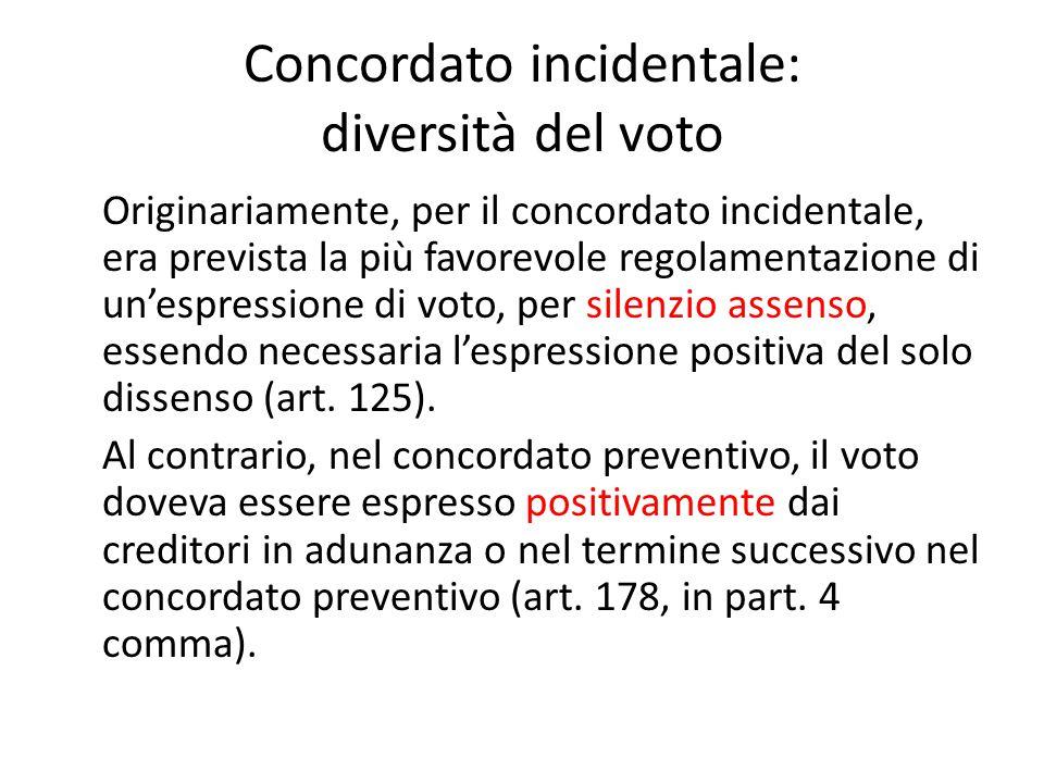 Concordato incidentale: diversità del voto Originariamente, per il concordato incidentale, era prevista la più favorevole regolamentazione di un'espre