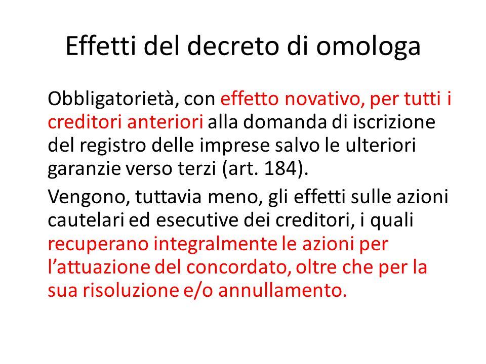 Effetti del decreto di omologa Obbligatorietà, con effetto novativo, per tutti i creditori anteriori alla domanda di iscrizione del registro delle imp