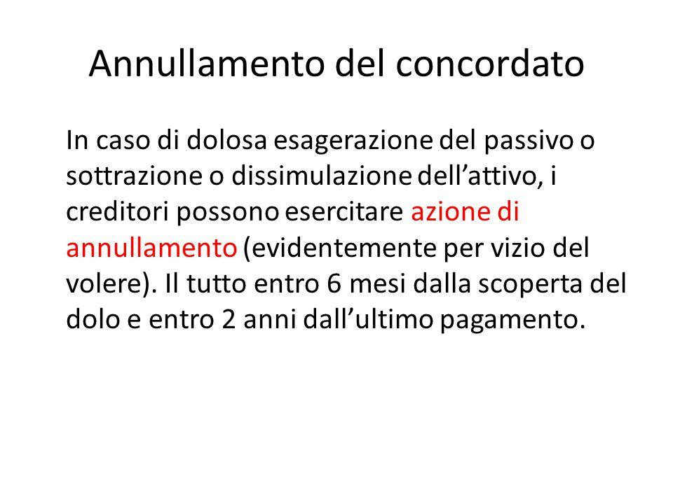 Annullamento del concordato In caso di dolosa esagerazione del passivo o sottrazione o dissimulazione dell'attivo, i creditori possono esercitare azione di annullamento (evidentemente per vizio del volere).