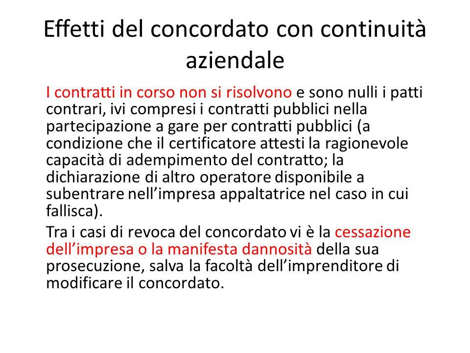 Effetti del concordato con continuità aziendale I contratti in corso non si risolvono e sono nulli i patti contrari, ivi compresi i contratti pubblici