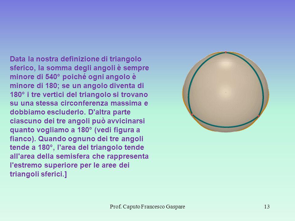 Prof. Caputo Francesco Gaspare13 Data la nostra definizione di triangolo sferico, la somma degli angoli è sempre minore di 540° poiché ogni angolo è m