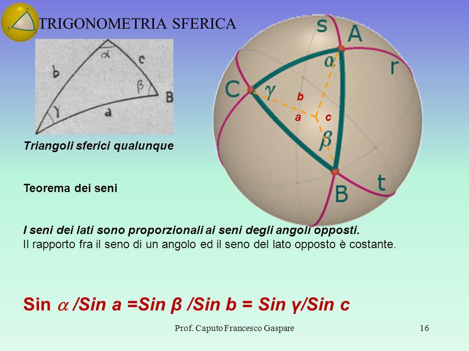 TRIGONOMETRIA SFERICA Prof. Caputo Francesco Gaspare16 Triangoli sferici qualunque Teorema dei seni I seni dei lati sono proporzionali ai seni degli a