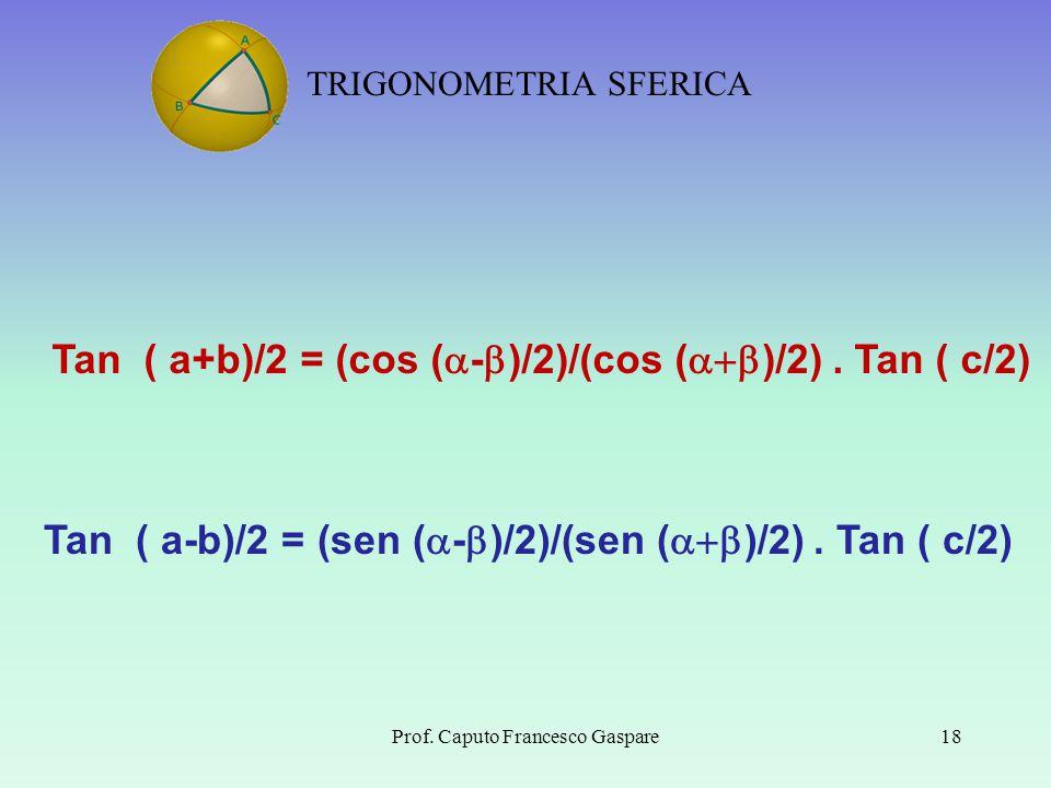 TRIGONOMETRIA SFERICA Prof. Caputo Francesco Gaspare18 Tan ( a+b)/2 = (cos (  -  )/2)/(cos (  )/2). Tan ( c/2) Tan ( a-b)/2 = (sen (  -  )/2)/(