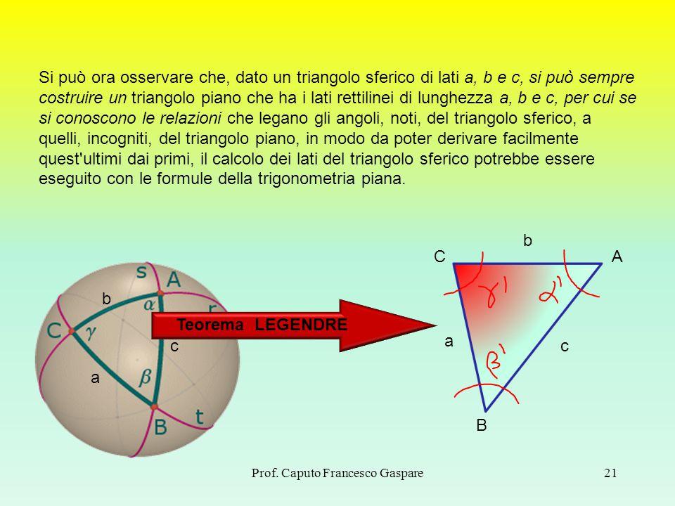 Prof. Caputo Francesco Gaspare21 Si può ora osservare che, dato un triangolo sferico di lati a, b e c, si può sempre costruire un triangolo piano che