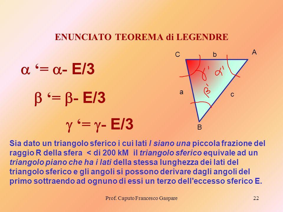 ENUNCIATO TEOREMA di LEGENDRE Prof. Caputo Francesco Gaspare22 Sia dato un triangolo sferico i cui lati l siano una piccola frazione del raggio R dell