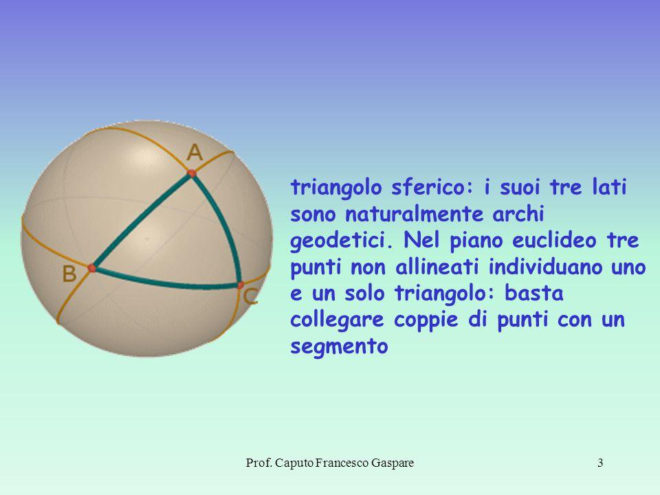 3 triangolo sferico: i suoi tre lati sono naturalmente archi geodetici. Nel piano euclideo tre punti non allineati individuano uno e un solo triangolo