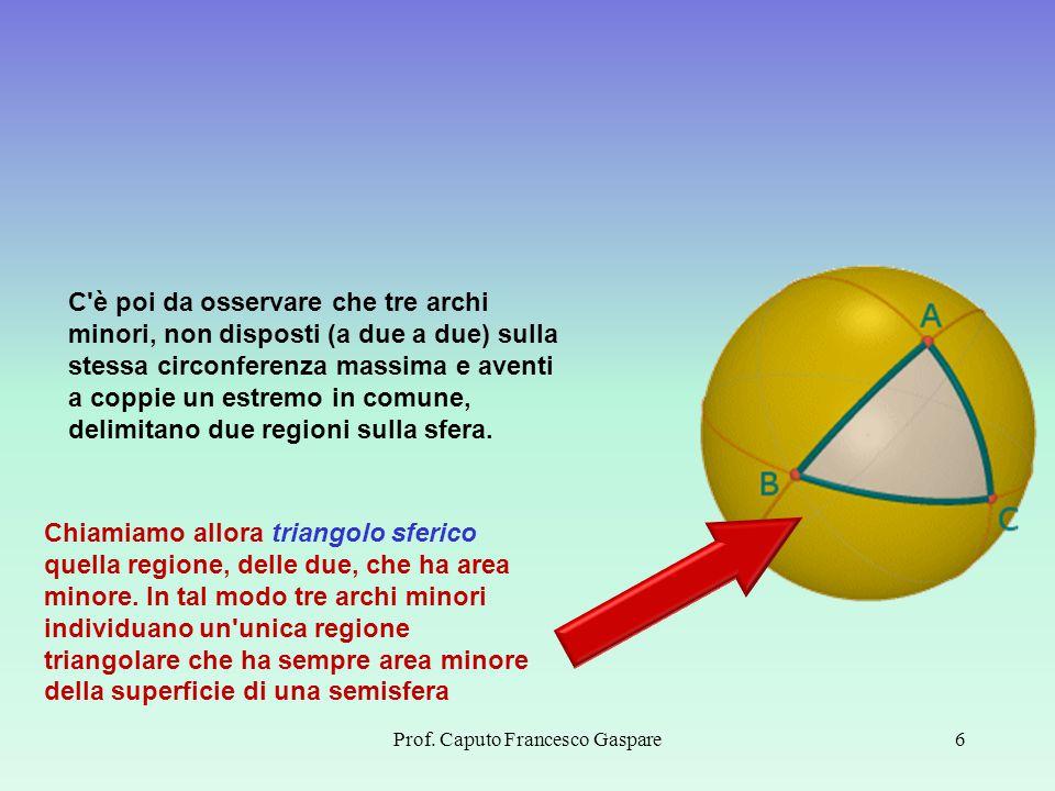 Prof. Caputo Francesco Gaspare6 C'è poi da osservare che tre archi minori, non disposti (a due a due) sulla stessa circonferenza massima e aventi a co