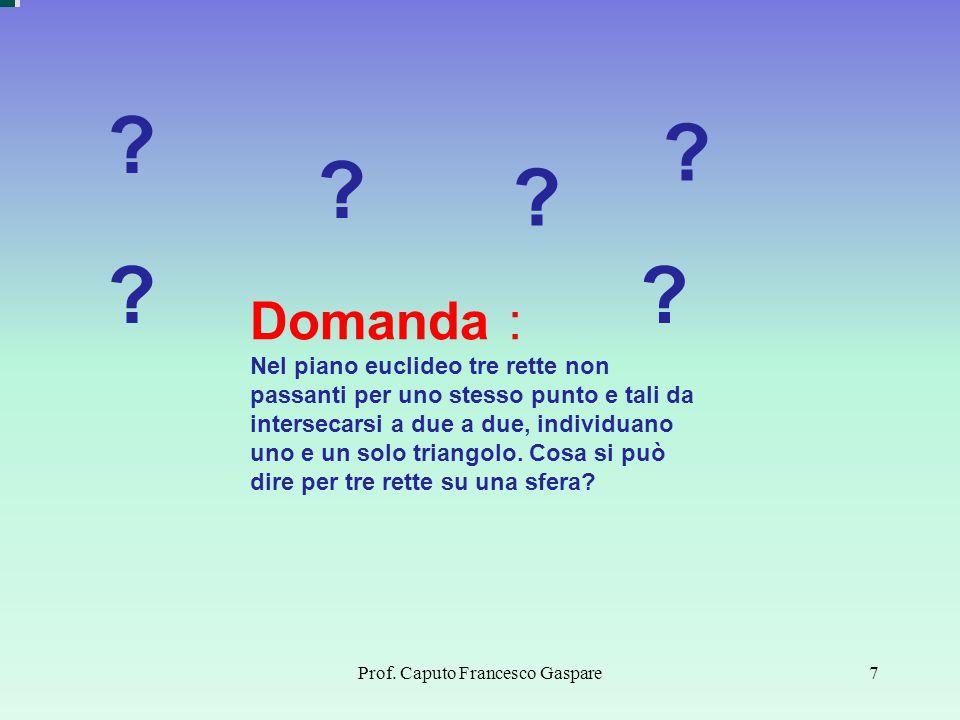 Prof. Caputo Francesco Gaspare7 Domanda : Nel piano euclideo tre rette non passanti per uno stesso punto e tali da intersecarsi a due a due, individua