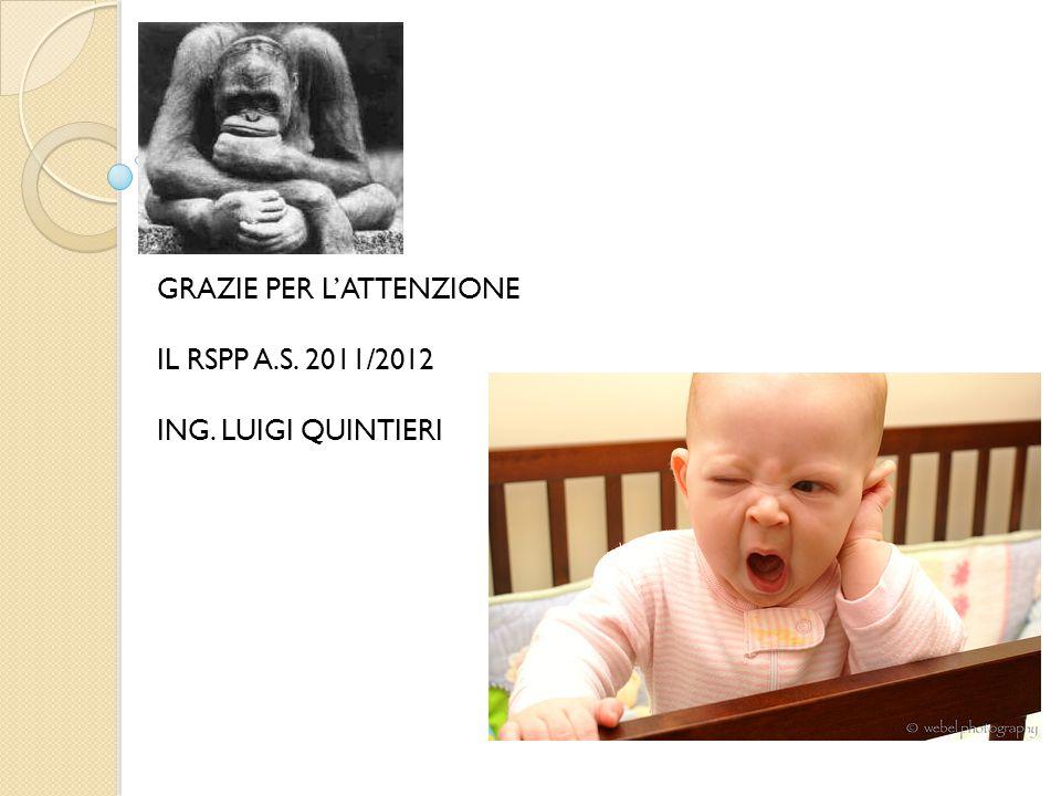 GRAZIE PER L'ATTENZIONE IL RSPP A.S. 2011/2012 ING. LUIGI QUINTIERI