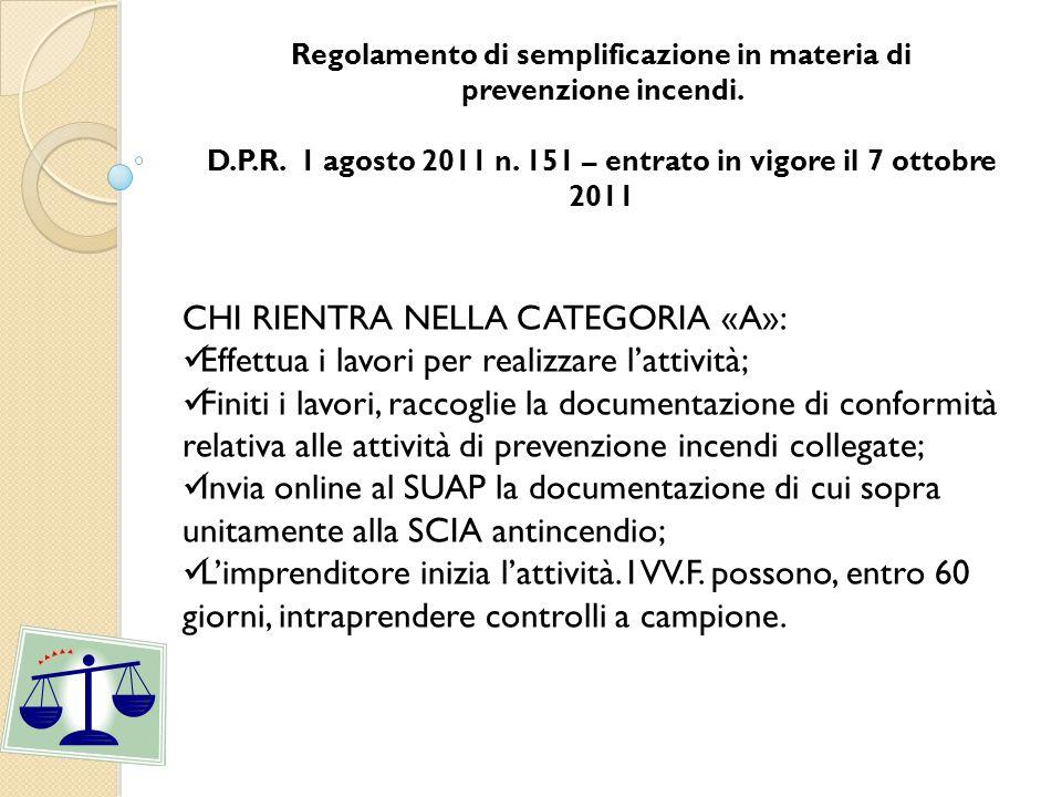 CHI RIENTRA NELLA CATEGORIA «B»: Prima di iniziare i lavori l'imprenditore tramite SUAP fa istanza ai VV.F.