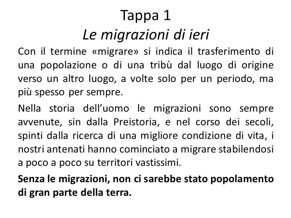 Tappa 1 Le migrazioni di ieri Con il termine «migrare» si indica il trasferimento di una popolazione o di una tribù dal luogo di origine verso un altro luogo, a volte solo per un periodo, ma più spesso per sempre.