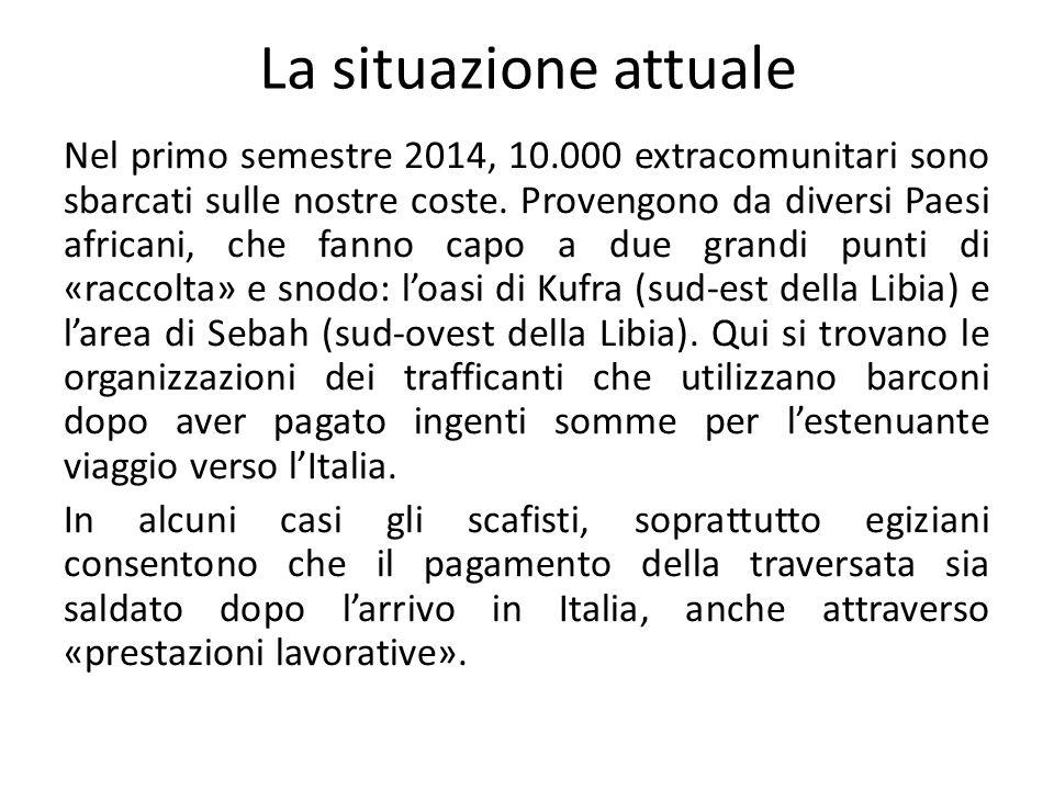 La situazione attuale Nel primo semestre 2014, 10.000 extracomunitari sono sbarcati sulle nostre coste.