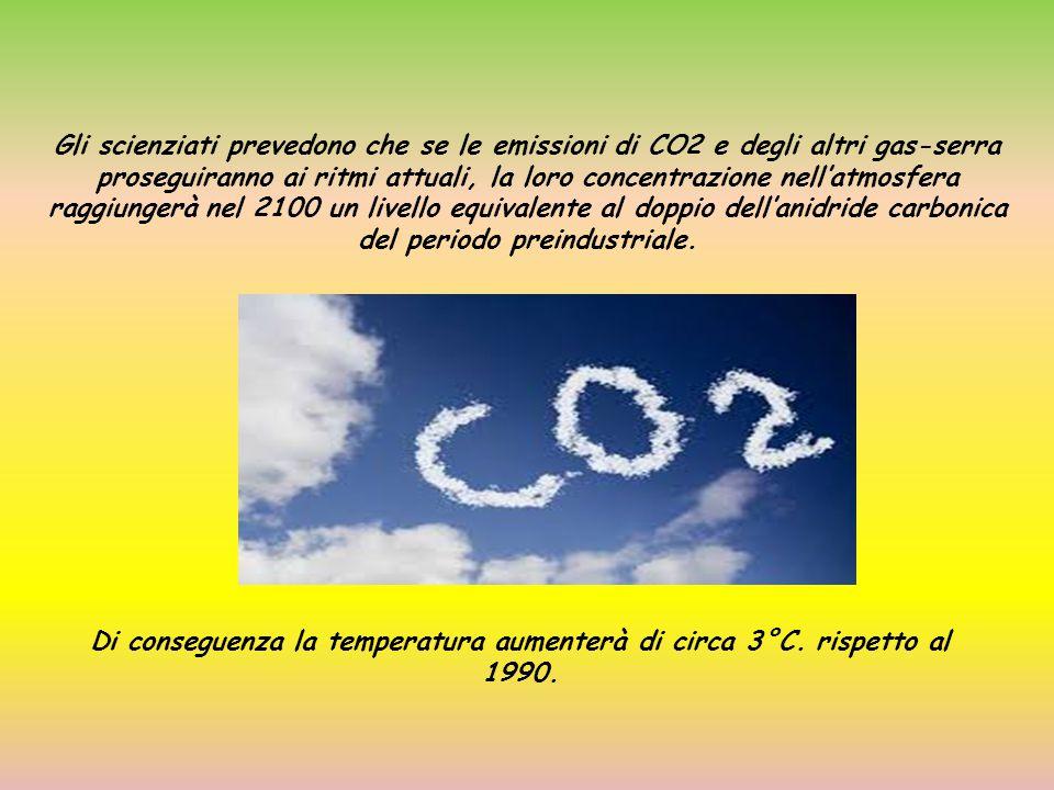 Gli scienziati prevedono che se le emissioni di CO2 e degli altri gas-serra proseguiranno ai ritmi attuali, la loro concentrazione nell'atmosfera ragg