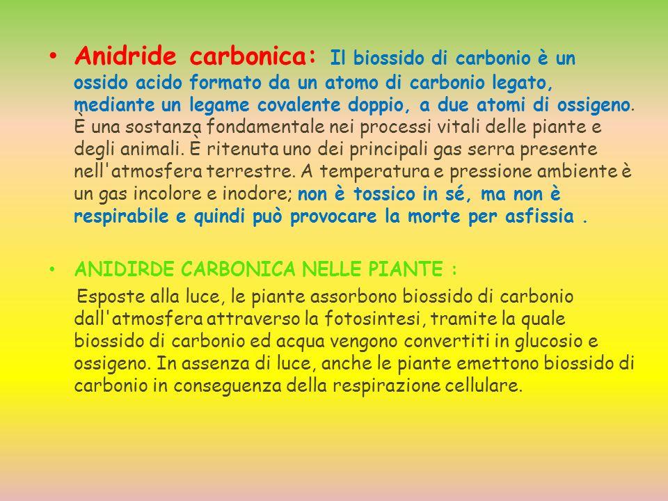 Anidride carbonica: Il biossido di carbonio è un ossido acido formato da un atomo di carbonio legato, mediante un legame covalente doppio, a due atomi
