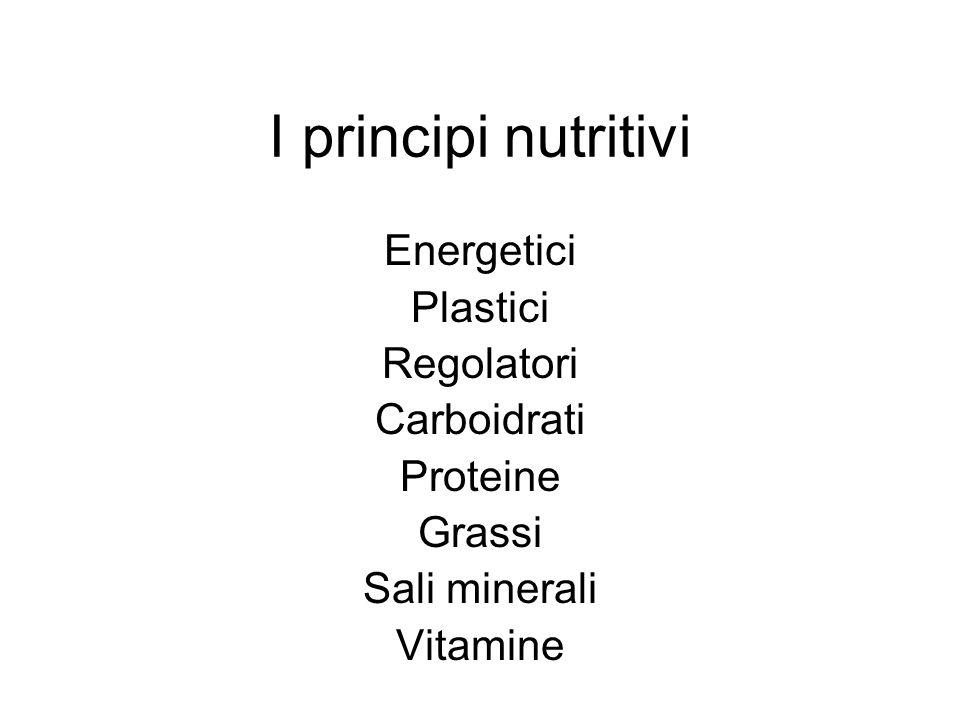 I principi nutritivi Energetici Plastici Regolatori Carboidrati Proteine Grassi Sali minerali Vitamine