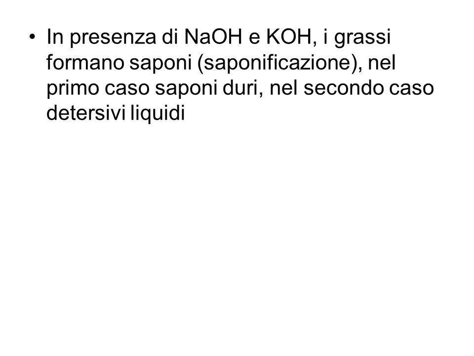 In presenza di NaOH e KOH, i grassi formano saponi (saponificazione), nel primo caso saponi duri, nel secondo caso detersivi liquidi