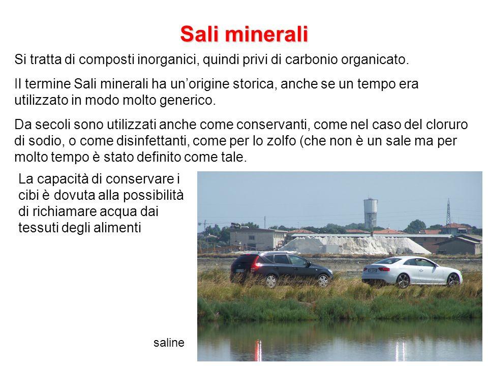 Sali minerali saline Si tratta di composti inorganici, quindi privi di carbonio organicato. Il termine Sali minerali ha un'origine storica, anche se u