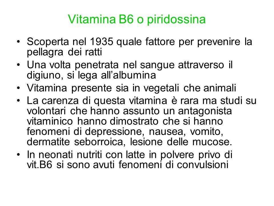 Vitamina B6 o piridossina Scoperta nel 1935 quale fattore per prevenire la pellagra dei ratti Una volta penetrata nel sangue attraverso il digiuno, si