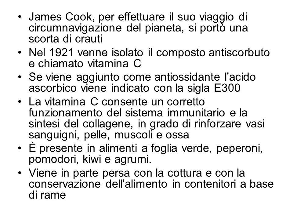 James Cook, per effettuare il suo viaggio di circumnavigazione del pianeta, si portò una scorta di crauti Nel 1921 venne isolato il composto antiscorb