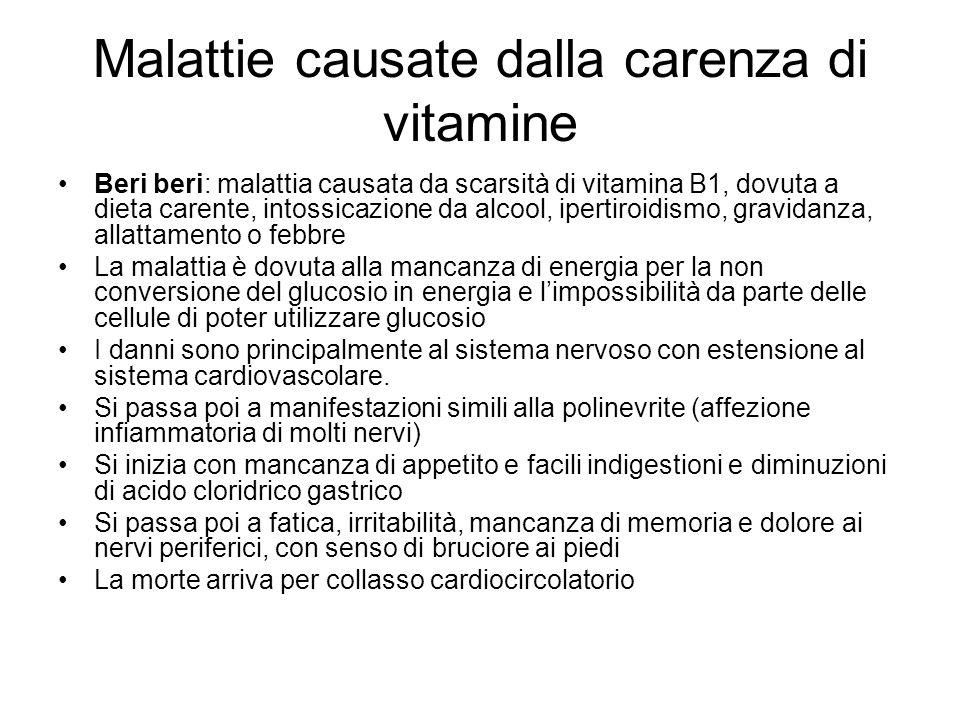 Malattie causate dalla carenza di vitamine Beri beri: malattia causata da scarsità di vitamina B1, dovuta a dieta carente, intossicazione da alcool, i