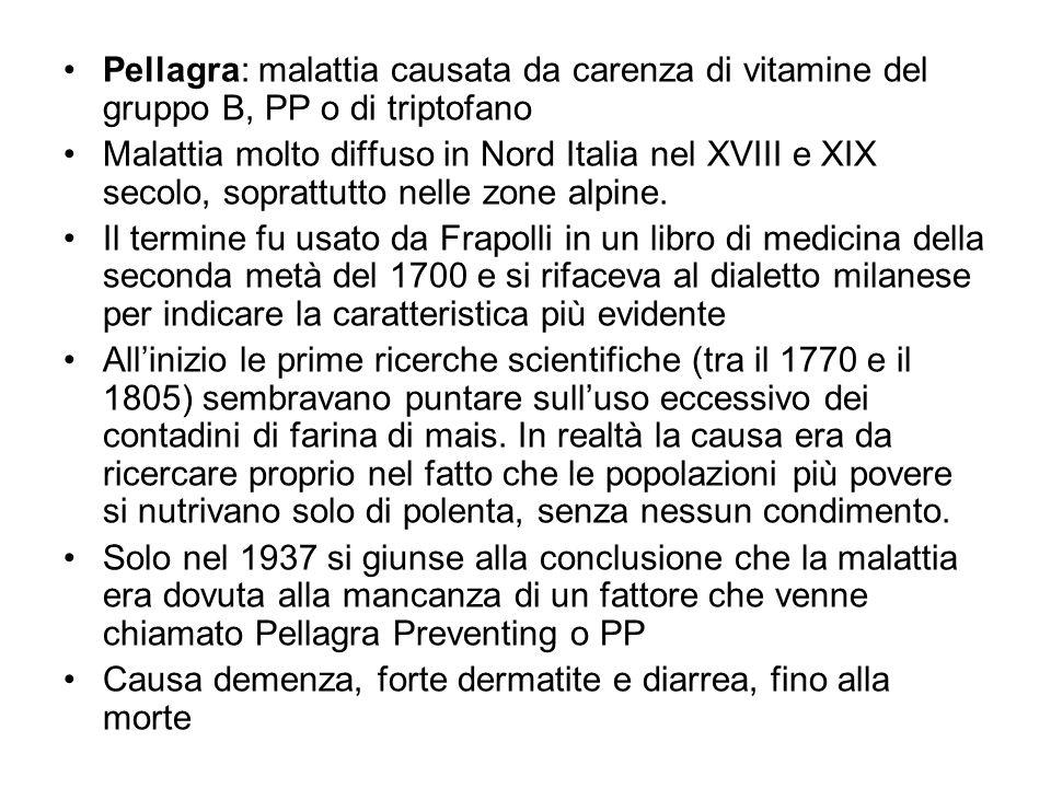 Pellagra: malattia causata da carenza di vitamine del gruppo B, PP o di triptofano Malattia molto diffuso in Nord Italia nel XVIII e XIX secolo, sopra